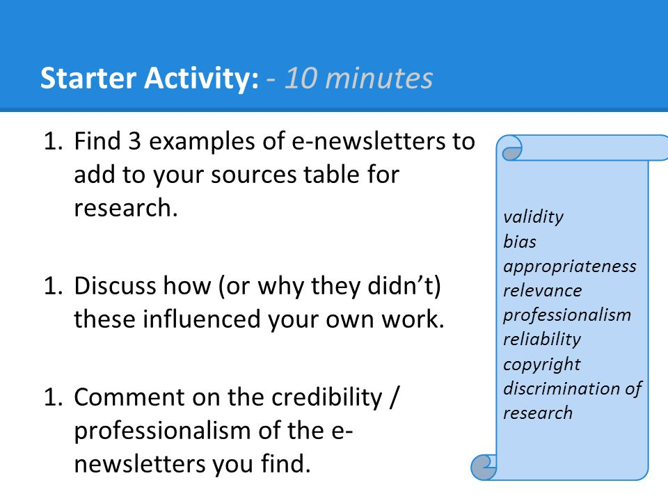 Starter Activity: - 10 minutes