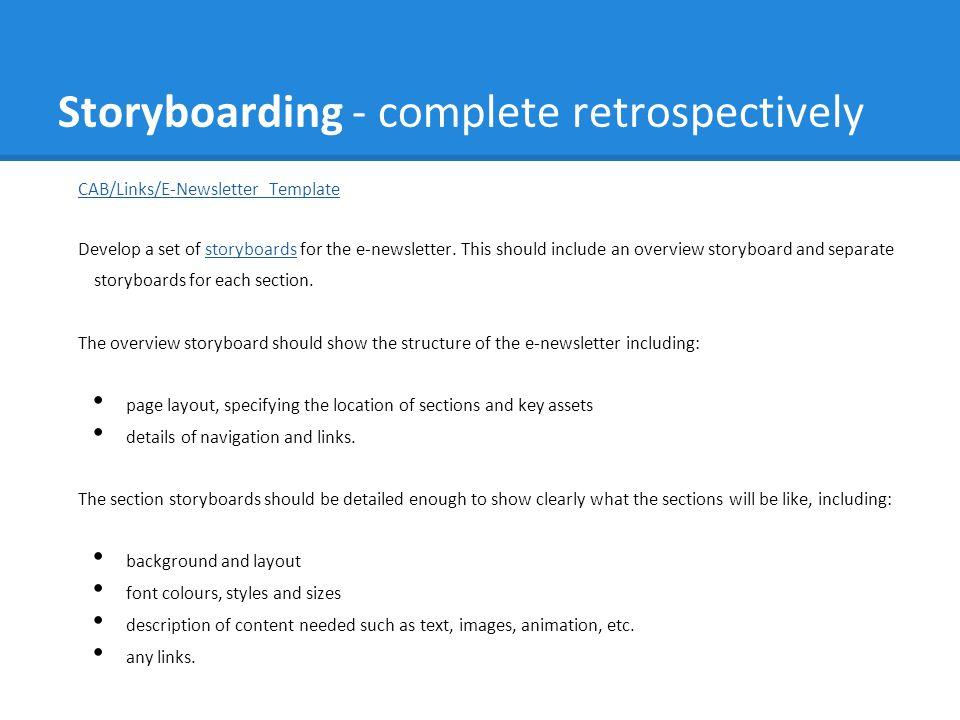 Storyboarding - complete retrospectively