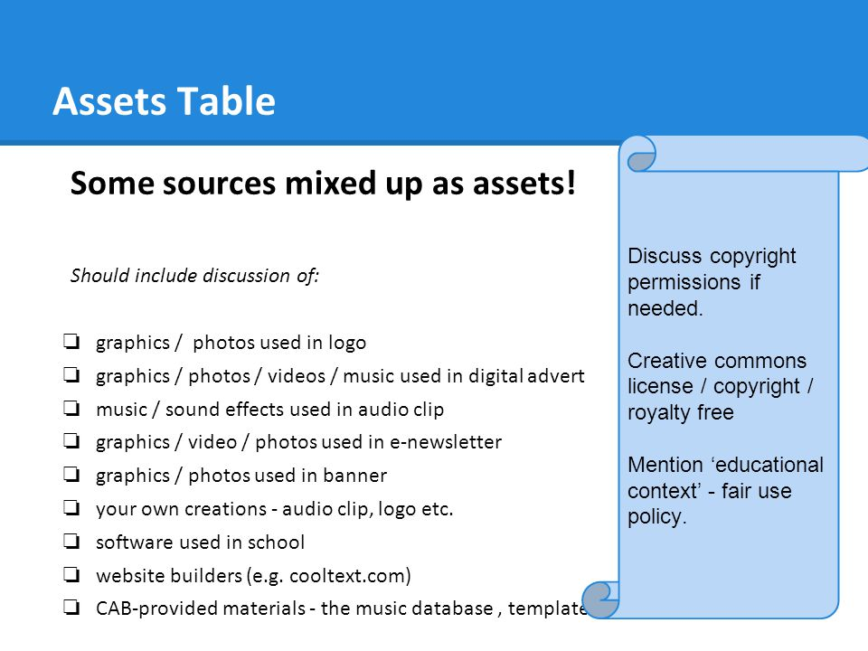 Assets Table Some sources mixed up as assets!