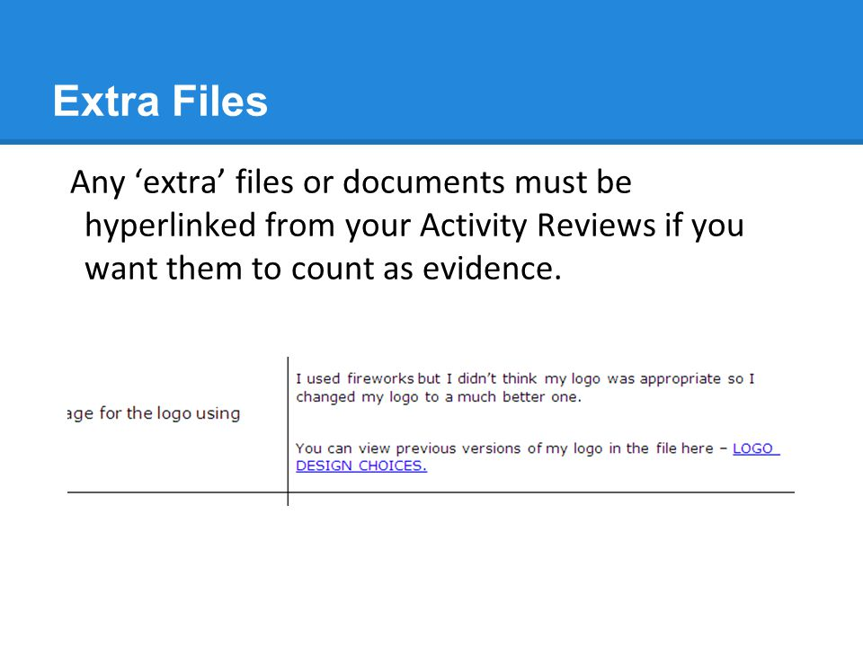 Extra Files Any 'extra' files or documents must be hyperlinked from your Activity Reviews if you want them to count as evidence.