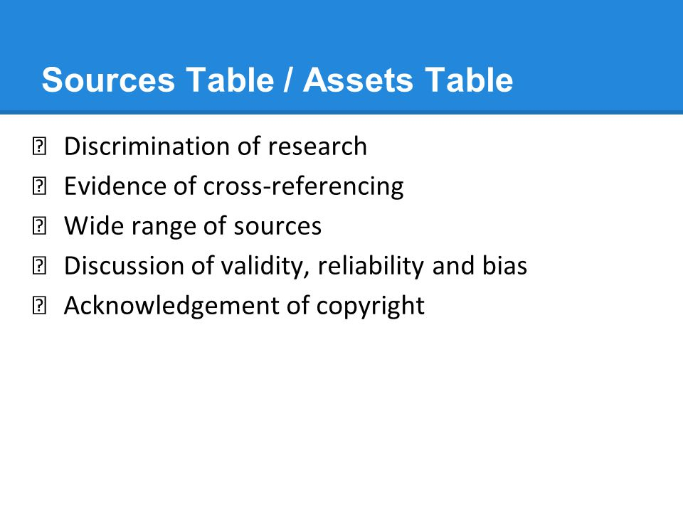 Sources Table / Assets Table