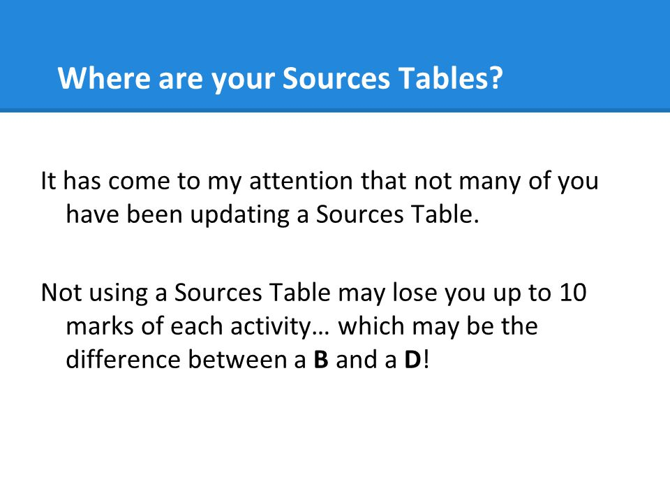 Where are your Sources Tables