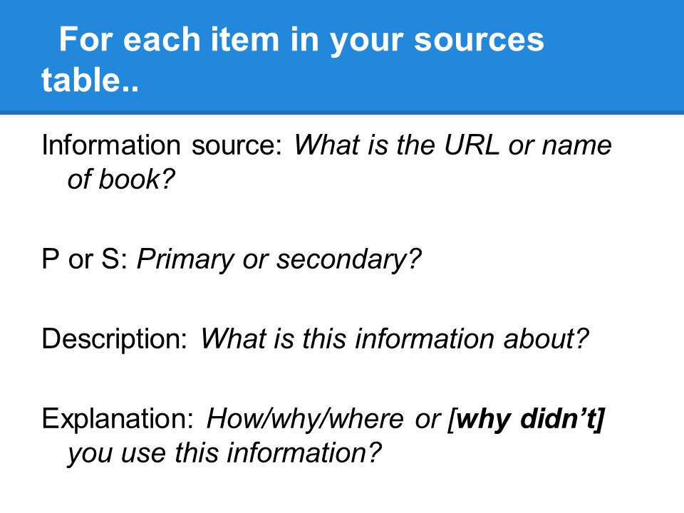 For each item in your sources table..