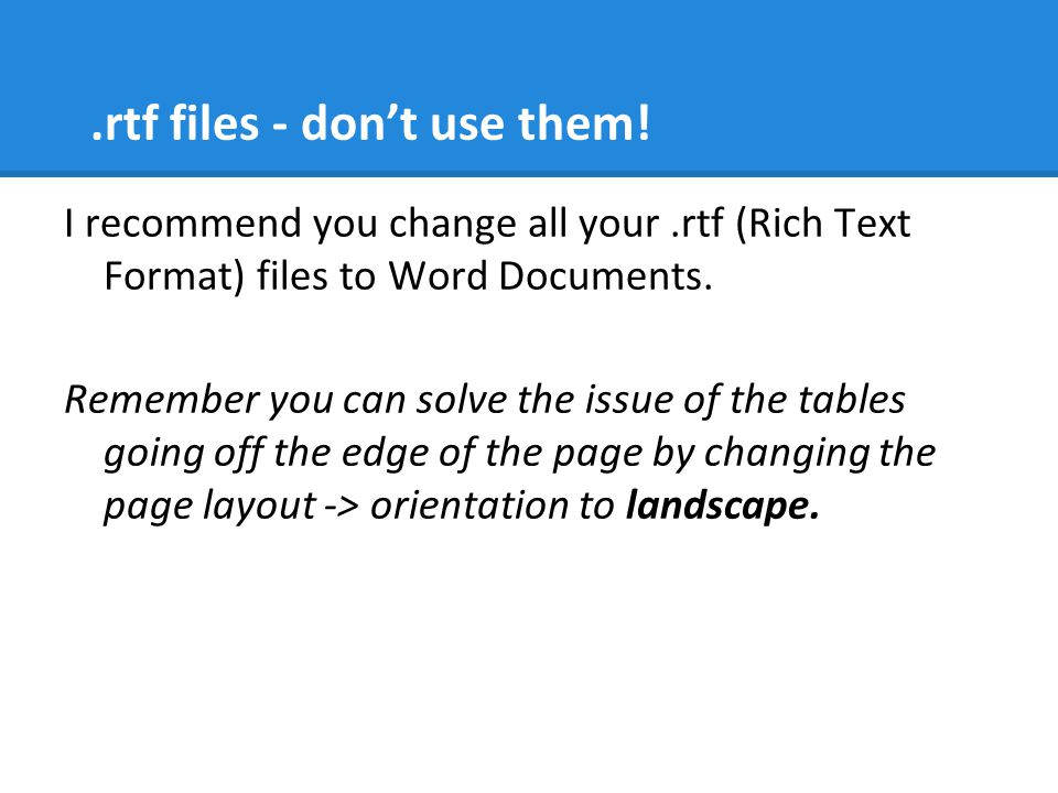 .rtf files - don't use them!