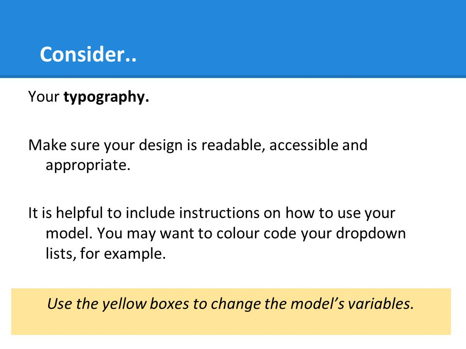 Use the yellow boxes to change the model's variables.