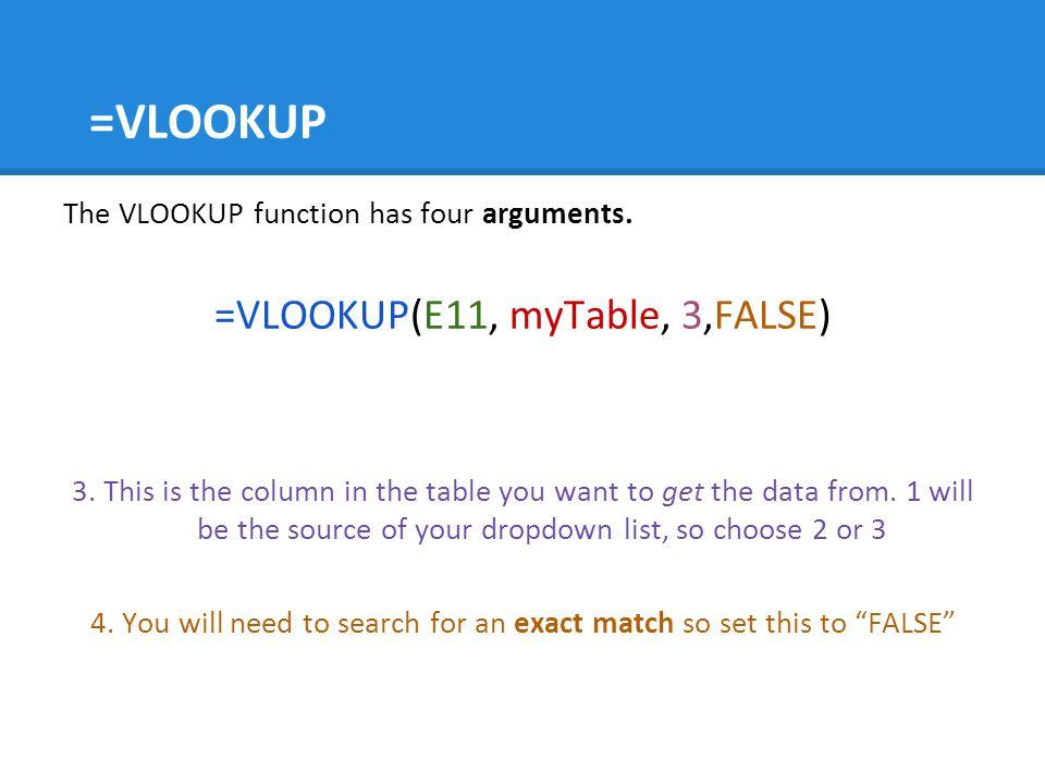 =VLOOKUP =VLOOKUP(E11, myTable, 3,FALSE)