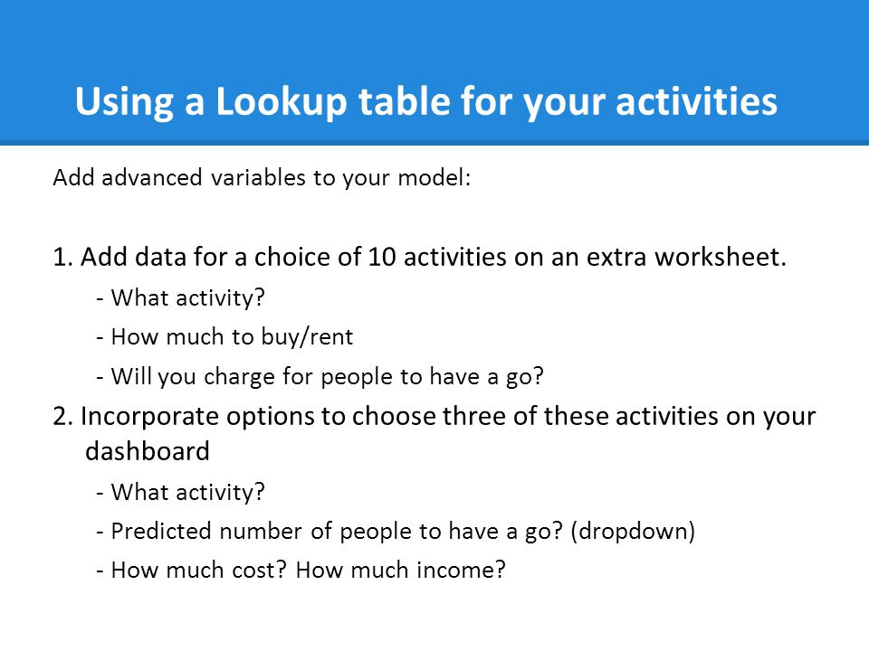 Using a Lookup table for your activities