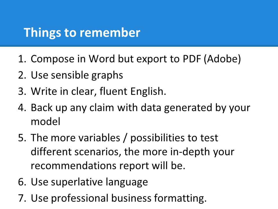 Things to remember Compose in Word but export to PDF (Adobe)