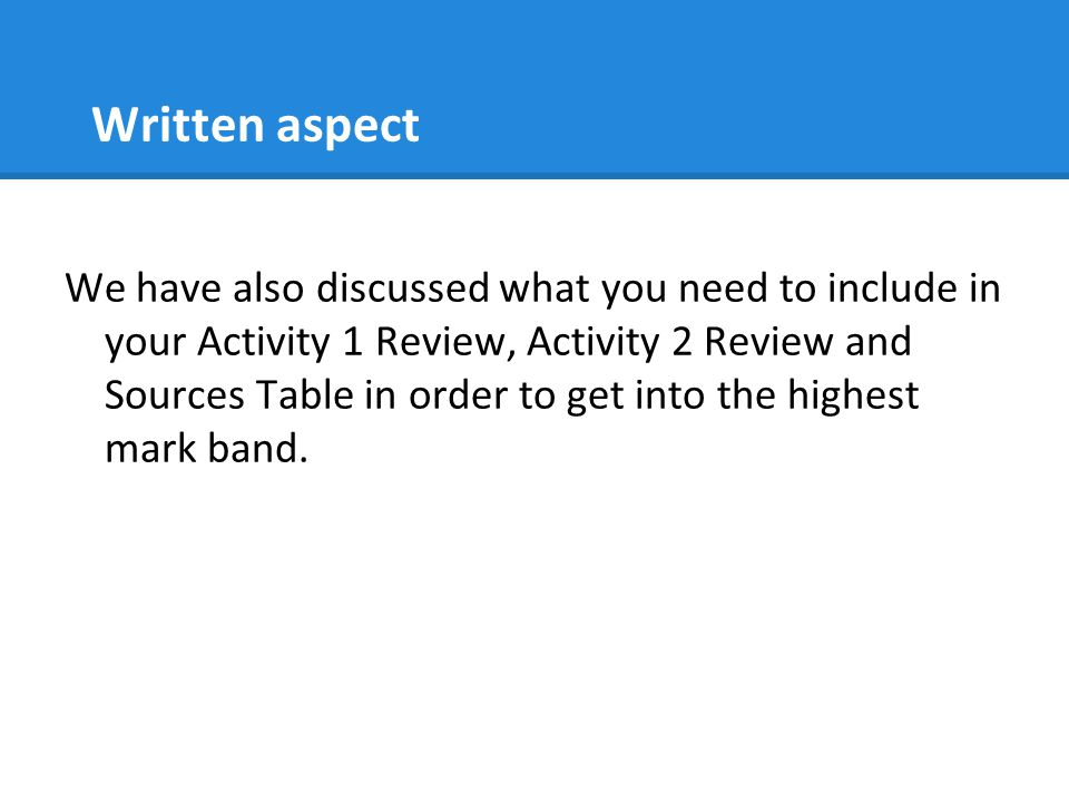 Written aspect
