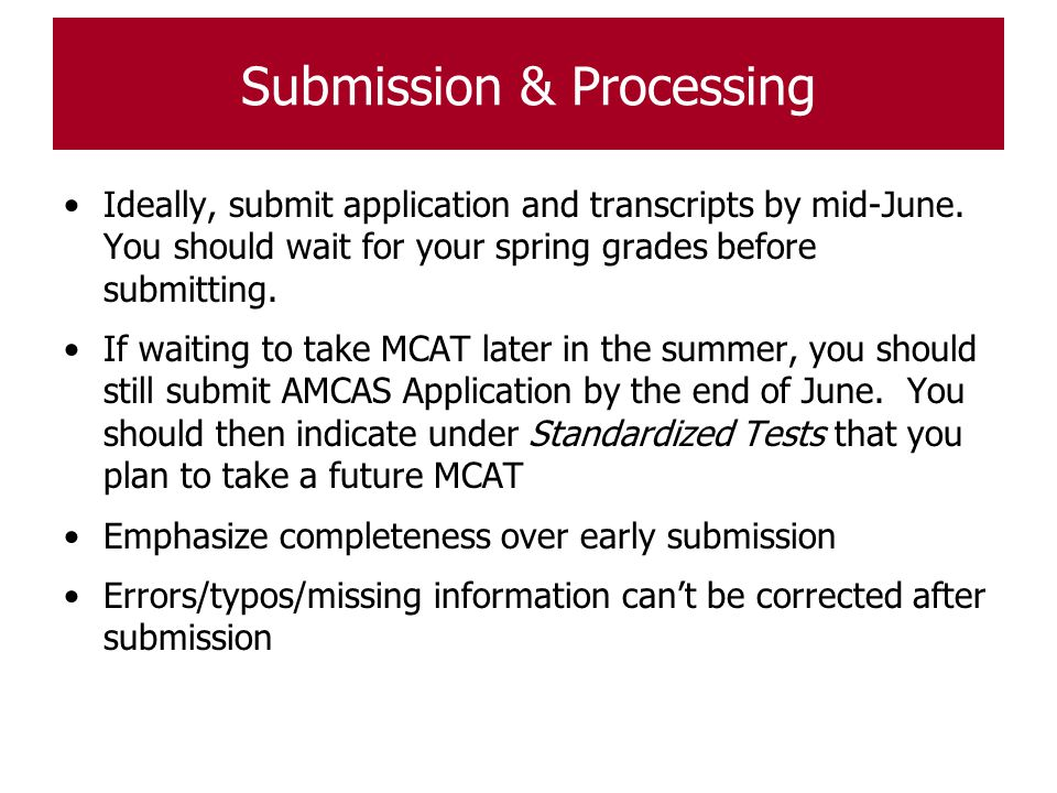 Submission & Processing
