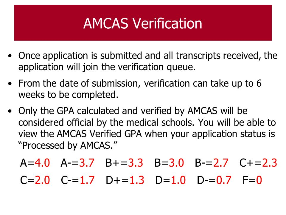 AMCAS Verification A=4.0 A-=3.7 B+=3.3 B=3.0 B-=2.7 C+=2.3