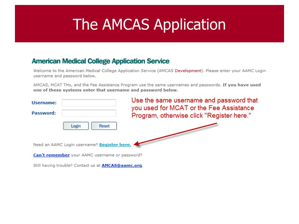 The AMCAS Application AMCAS Registration