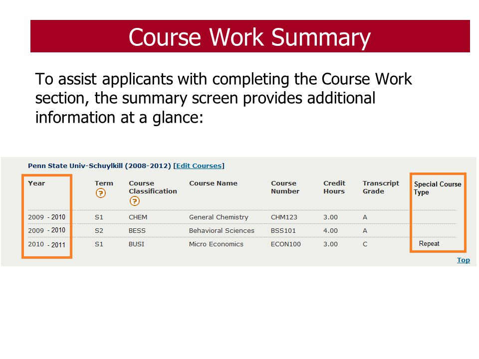 Course Work Summary To assist applicants with completing the Course Work section, the summary screen provides additional information at a glance: