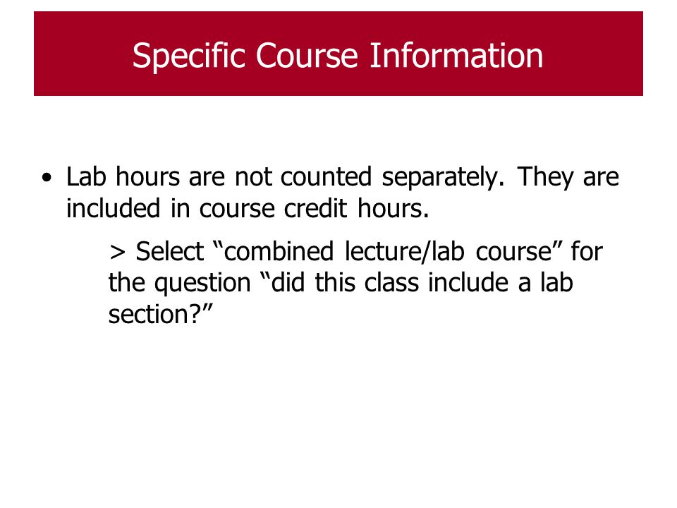 Specific Course Information