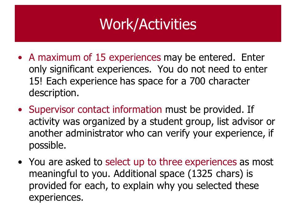 Work/Activities