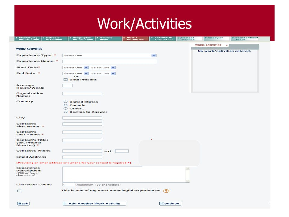 Work/Activities Work & Activities