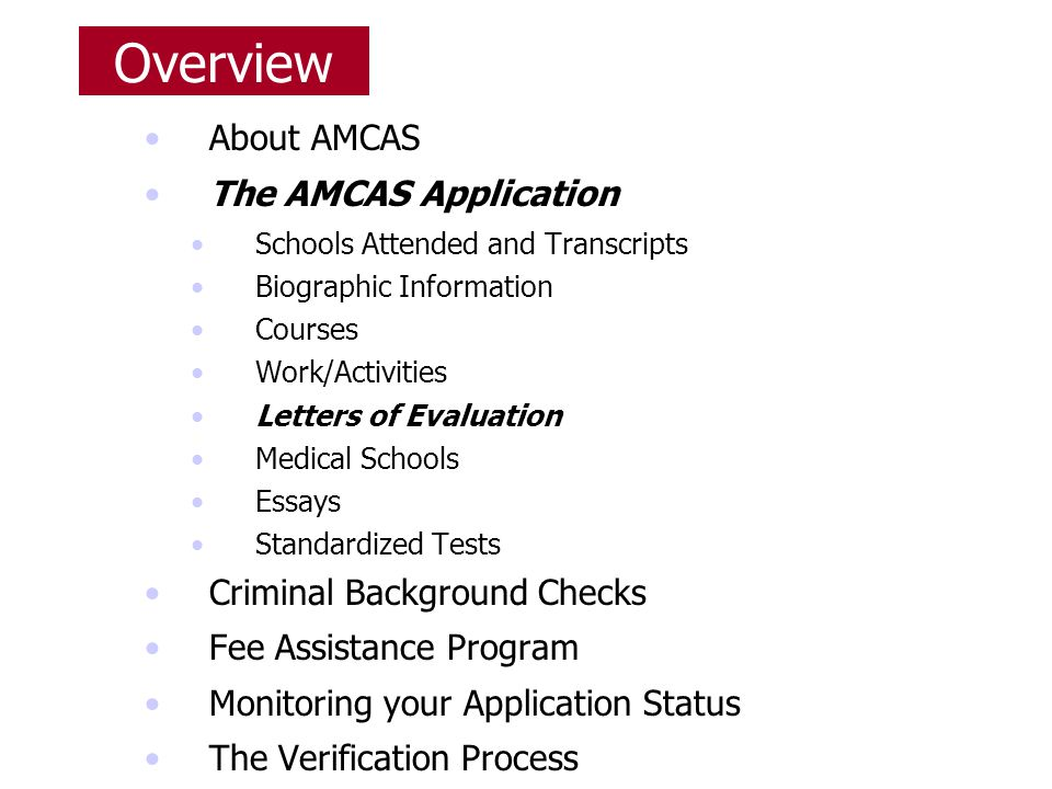 amcas application essay Well, there is nothing you can affect more than what goes into your personal statement (as well as your amcas work and activities section and secondary application essays) in other words, what admissions committees learn about you through your personal statement is entirely up to you.