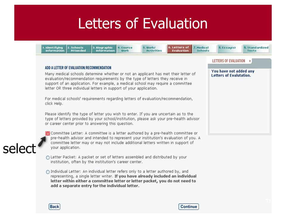 Letters of Evaluation select