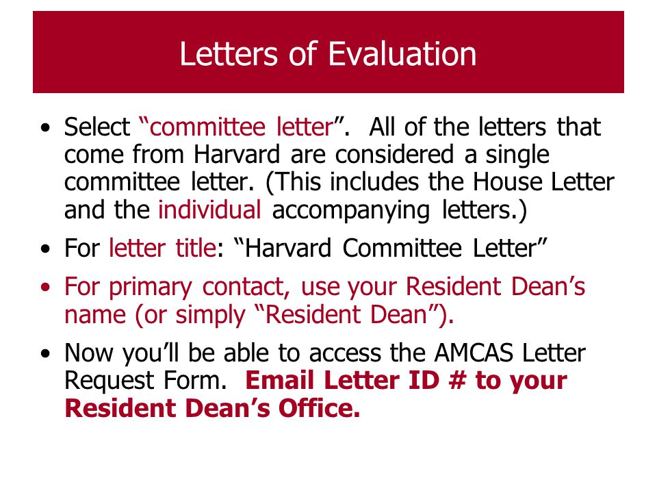 Letters of Evaluation