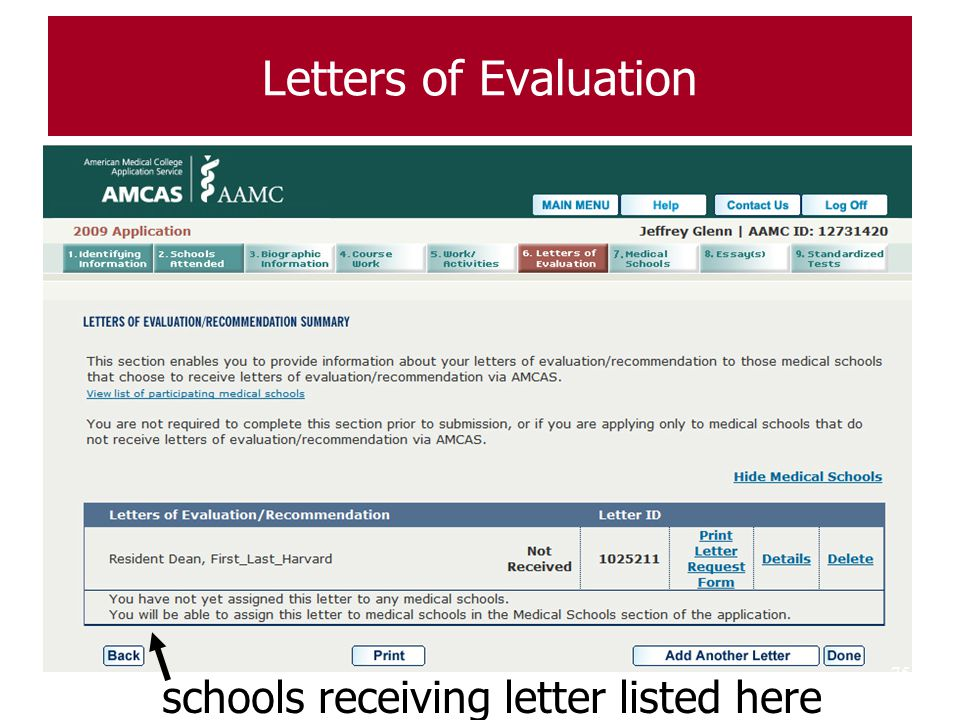 Letters of Evaluation schools receiving letter listed here