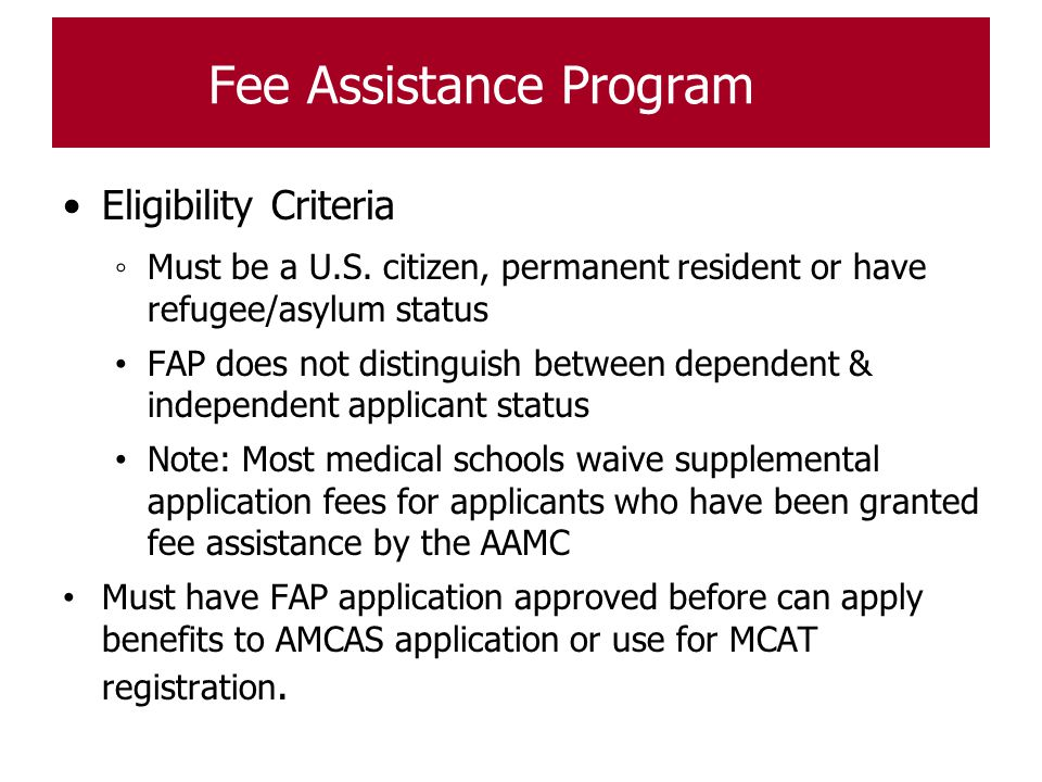 Fee Assistance Program
