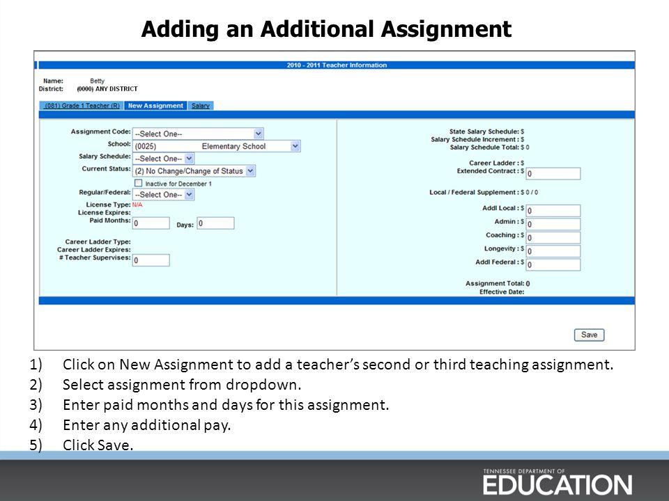 Adding an Additional Assignment
