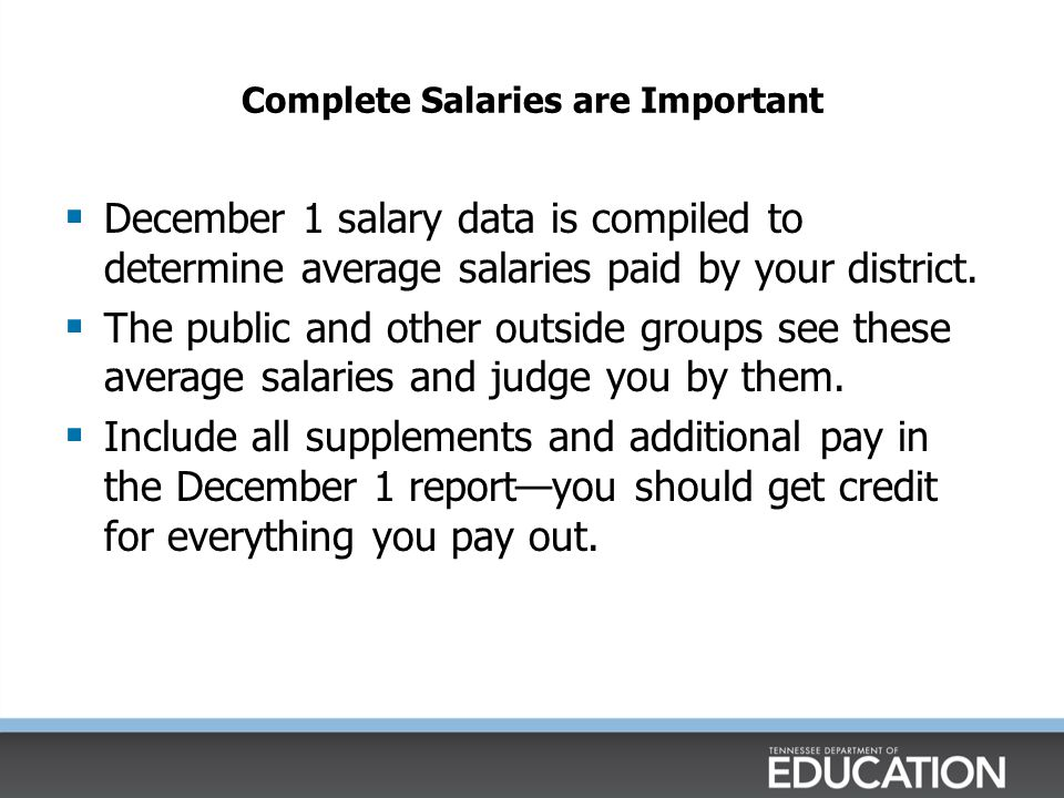 Complete Salaries are Important