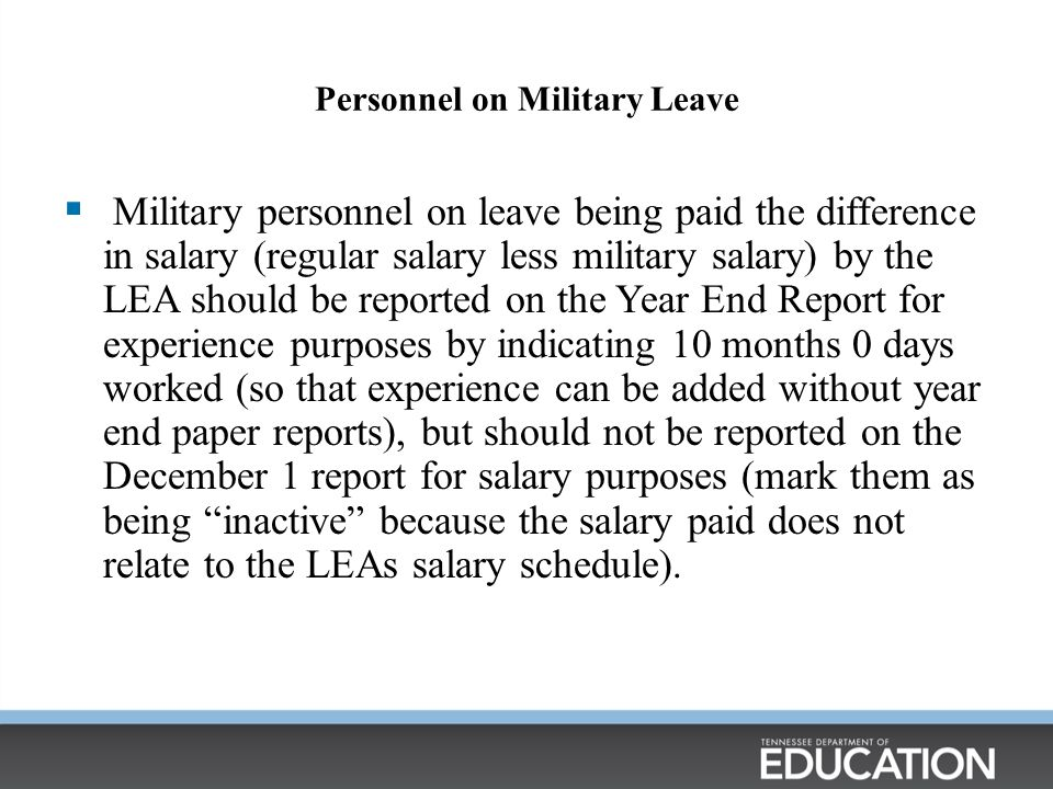 Personnel on Military Leave