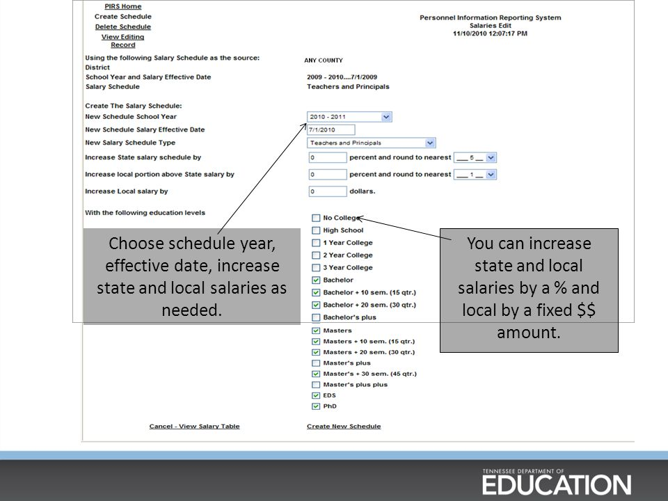 Choose schedule year, effective date, increase state and local salaries as needed.