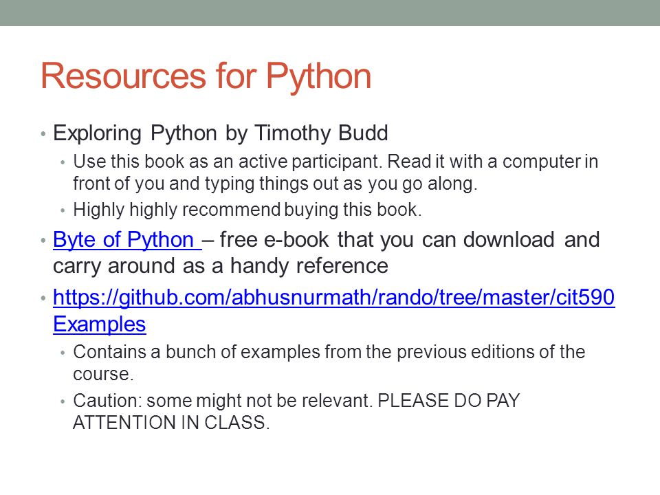 Resources for Python Exploring Python by Timothy Budd