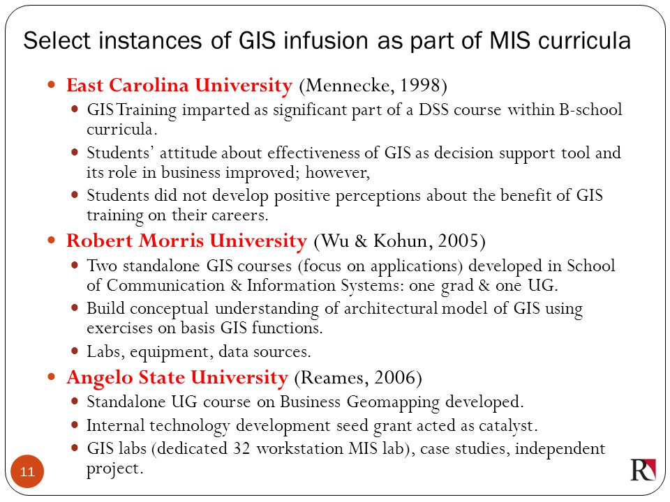 Select instances of GIS infusion as part of MIS curricula