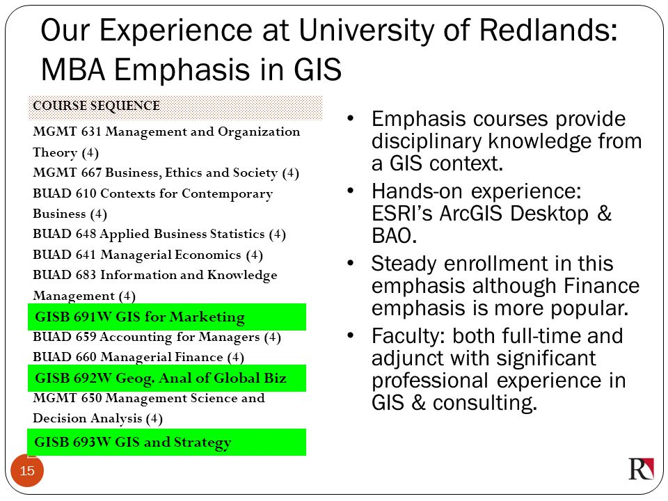 Our Experience at University of Redlands: MBA Emphasis in GIS