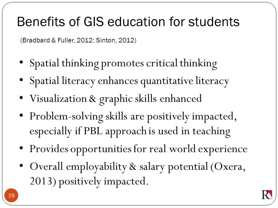 Benefits of GIS education for students (Bradbard & Fuller, 2012; Sinton, 2012)
