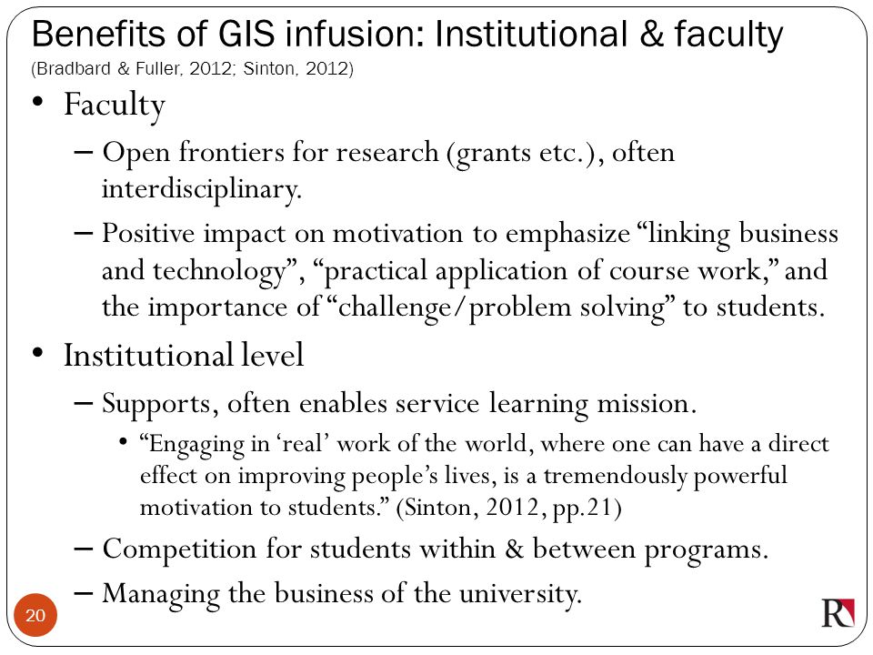 Benefits of GIS infusion: Institutional & faculty (Bradbard & Fuller, 2012; Sinton, 2012)