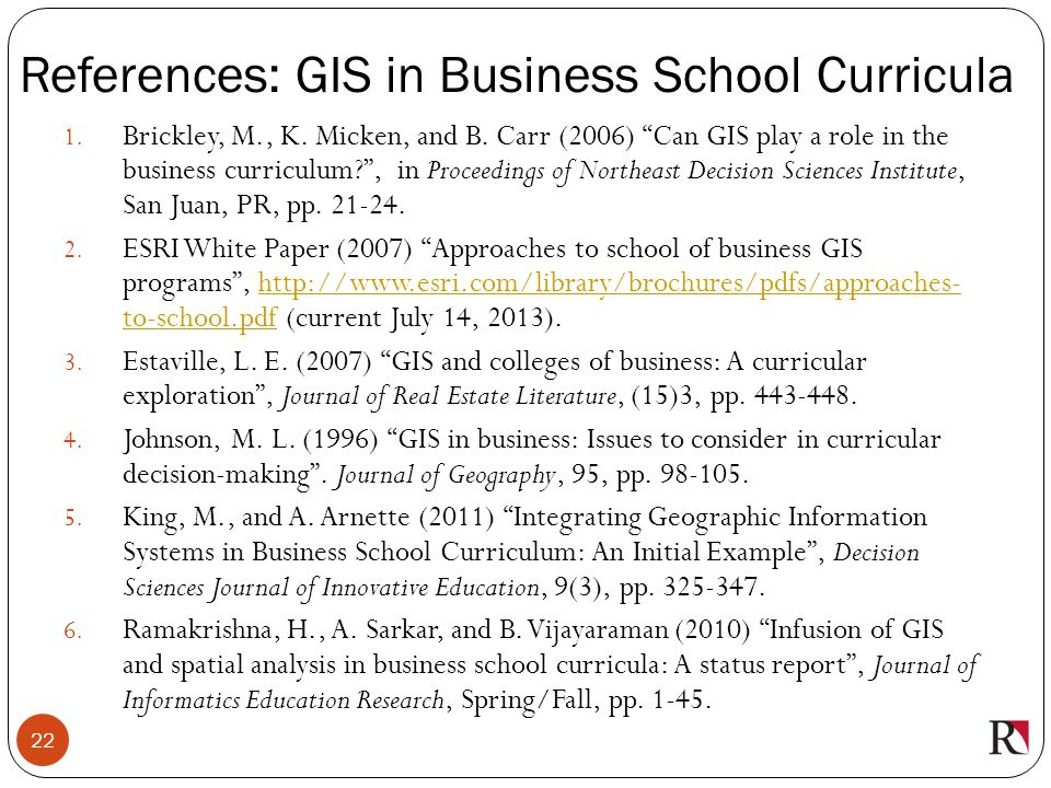 References: GIS in Business School Curricula