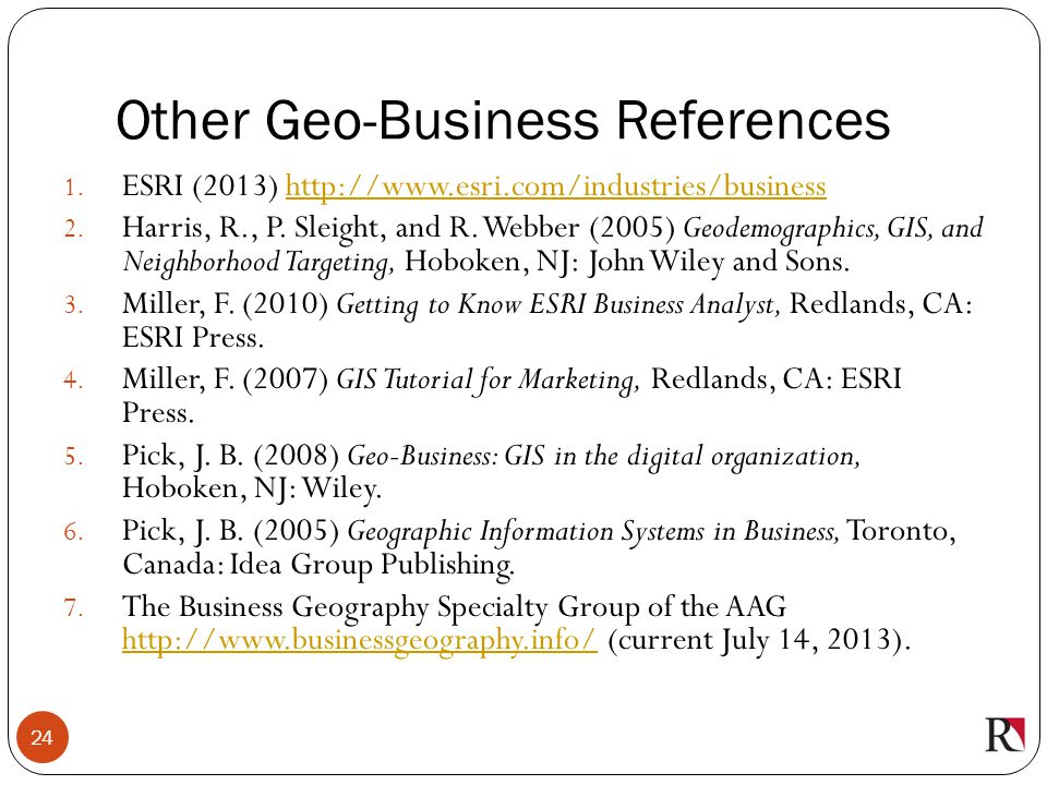 Other Geo-Business References