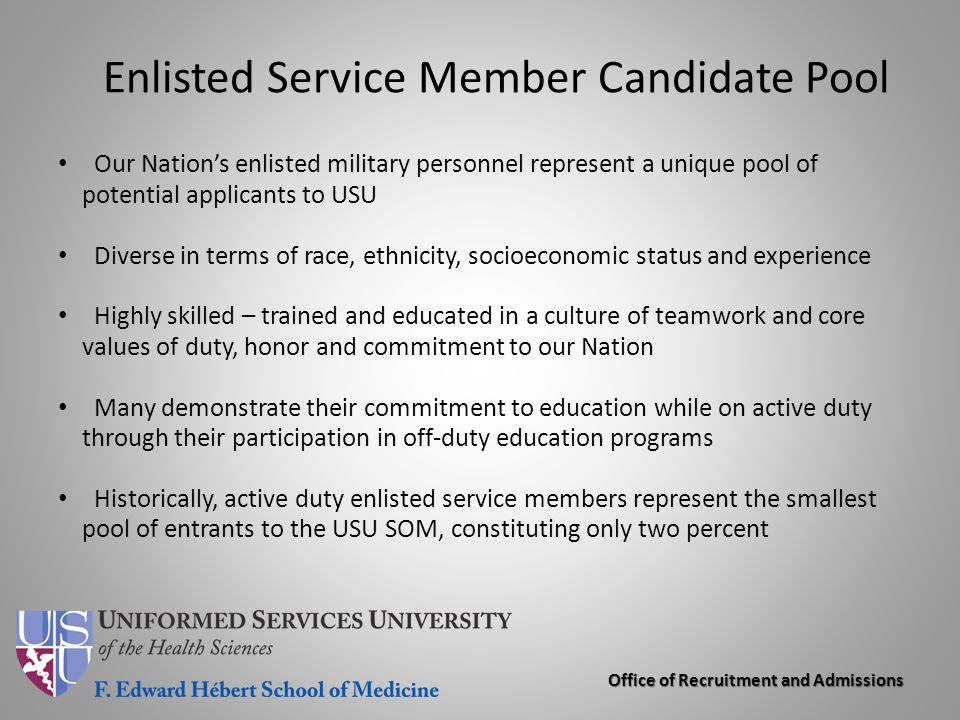 Enlisted Service Member Candidate Pool