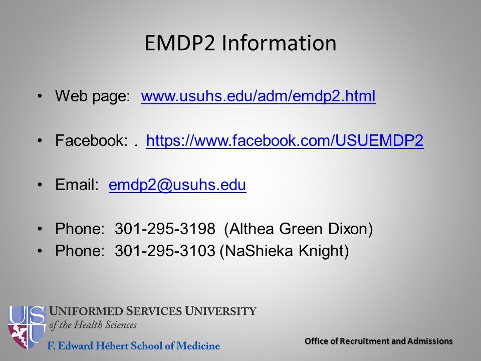EMDP2 Information Web page: www.usuhs.edu/adm/emdp2.html