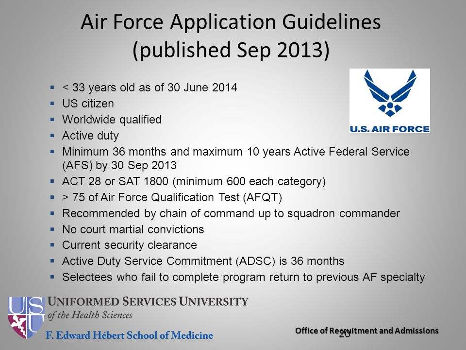 Air Force Application Guidelines (published Sep 2013)
