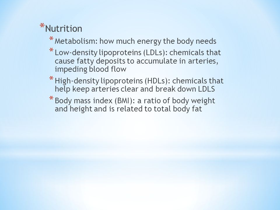 Nutrition Metabolism: how much energy the body needs