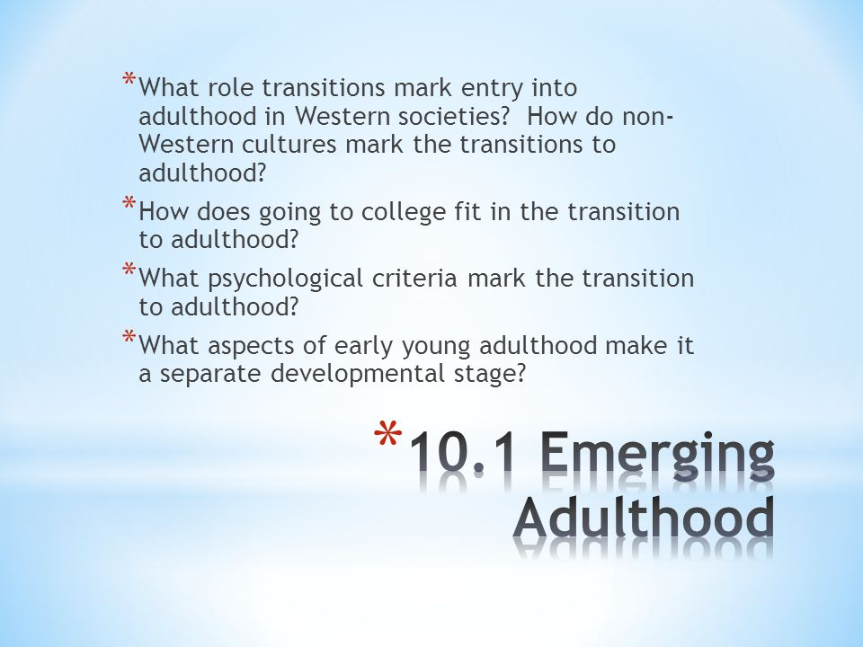 What role transitions mark entry into adulthood in Western societies