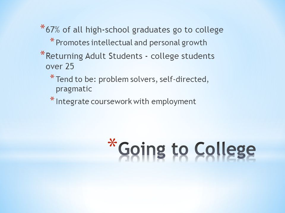 Going to College 67% of all high-school graduates go to college