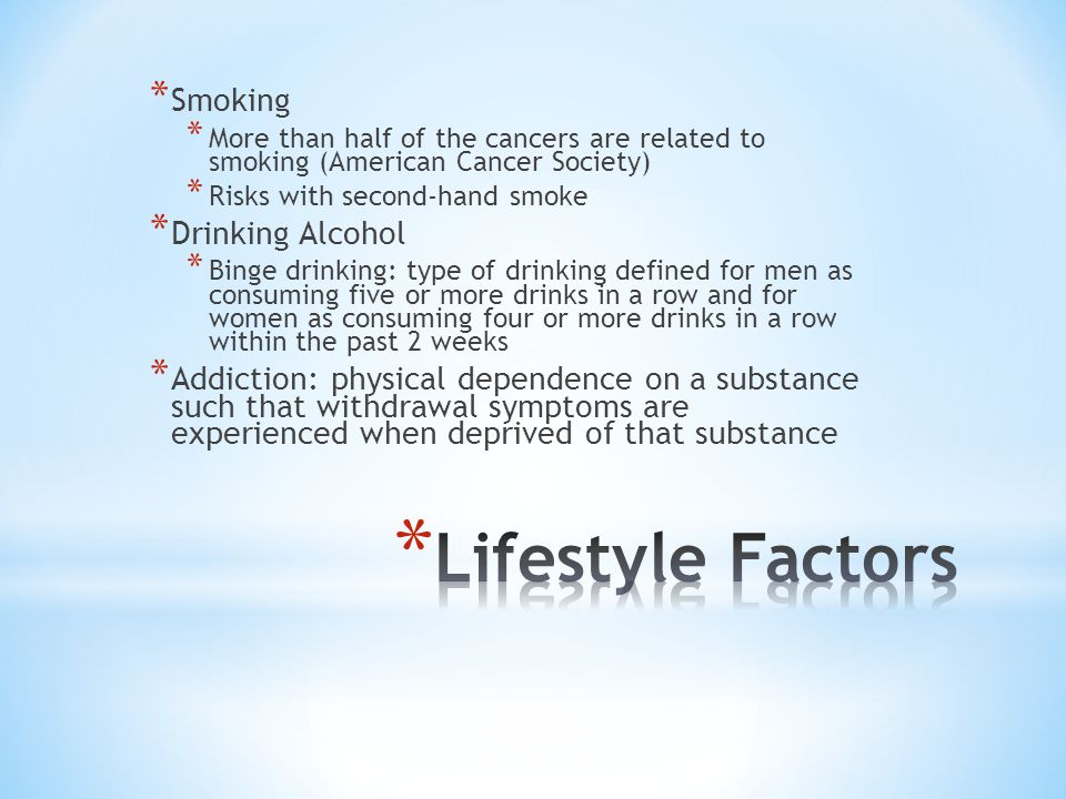 Lifestyle Factors Smoking Drinking Alcohol