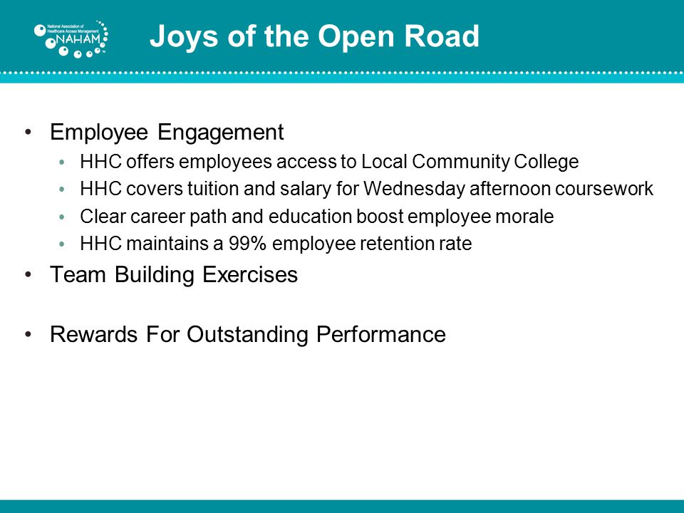 Joys of the Open Road Employee Engagement Team Building Exercises