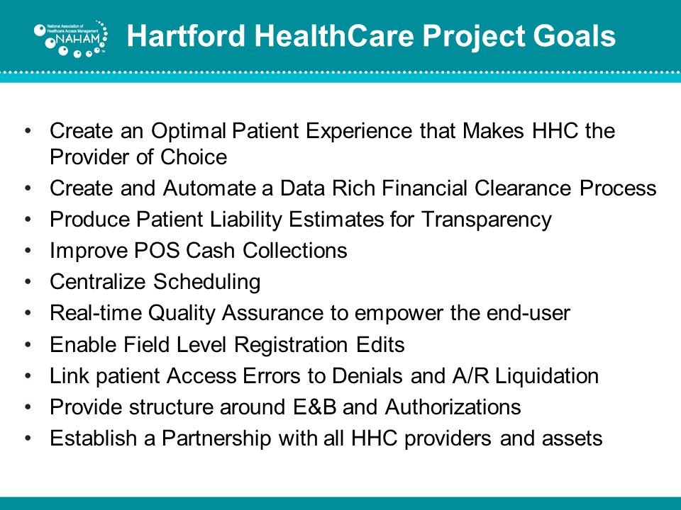 Hartford HealthCare Project Goals
