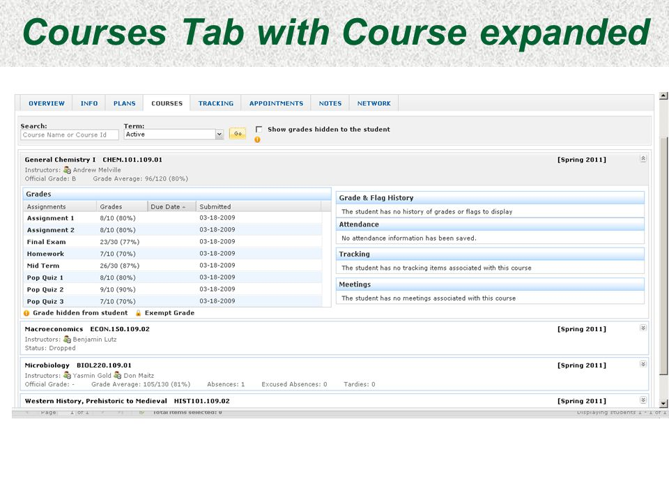 Courses Tab with Course expanded