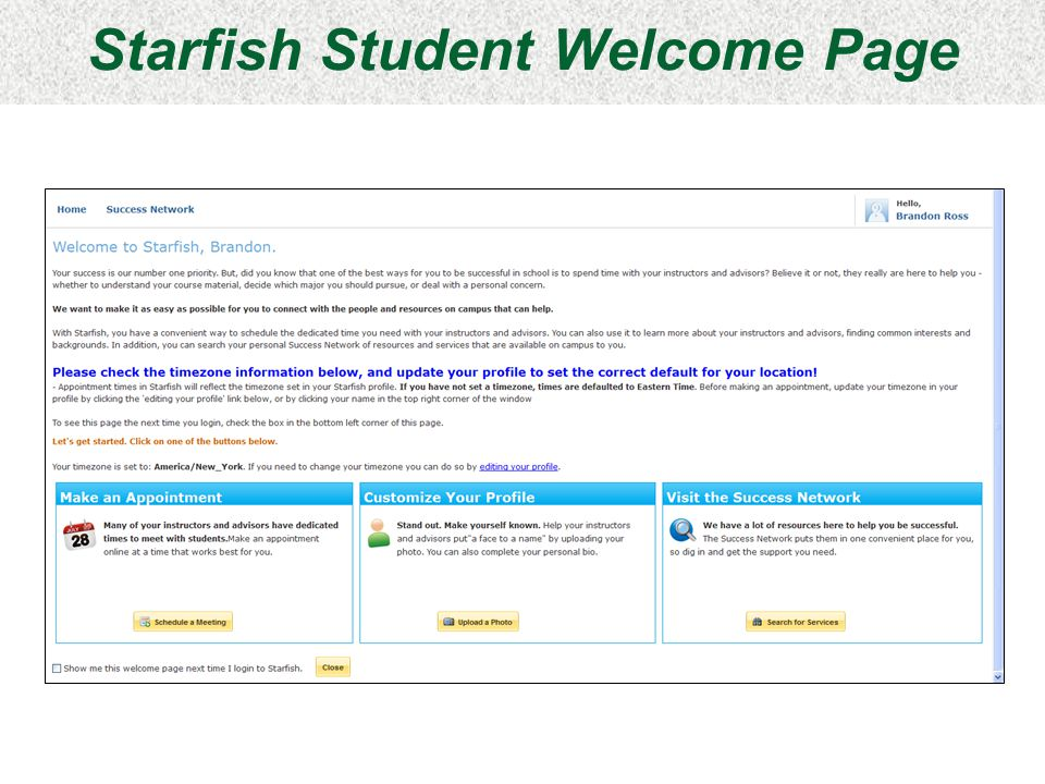 Starfish Student Welcome Page