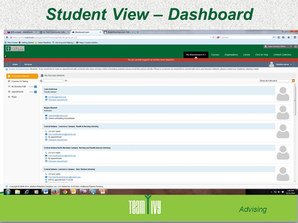 Student View – Dashboard