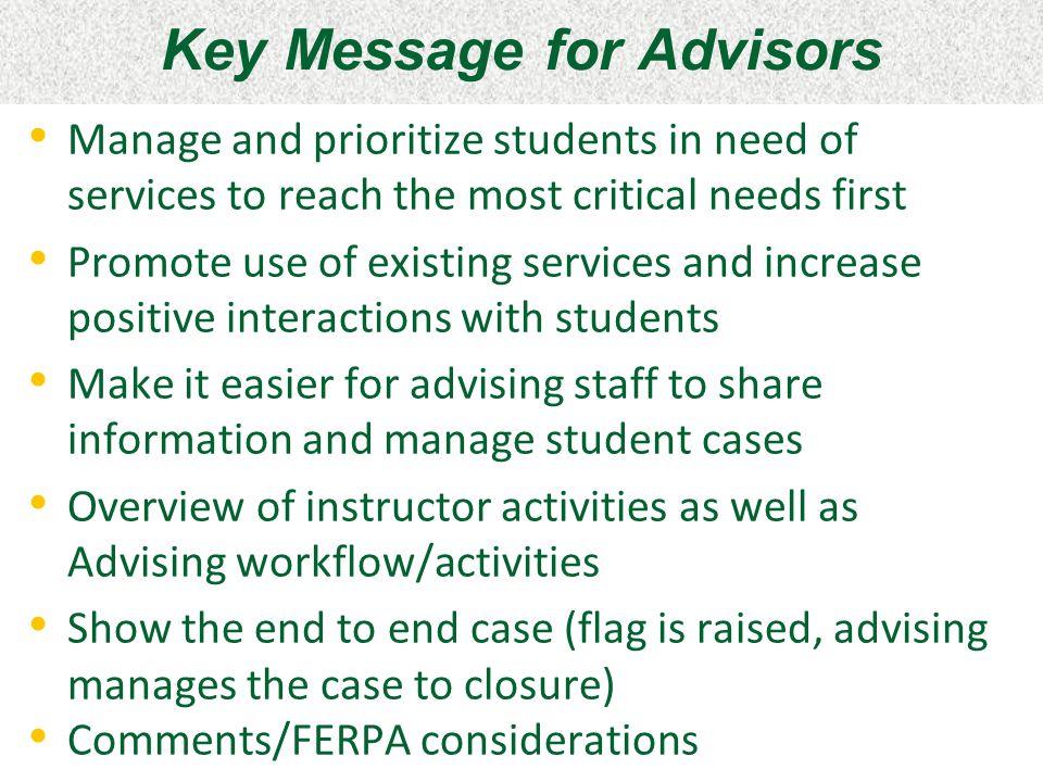 Key Message for Advisors