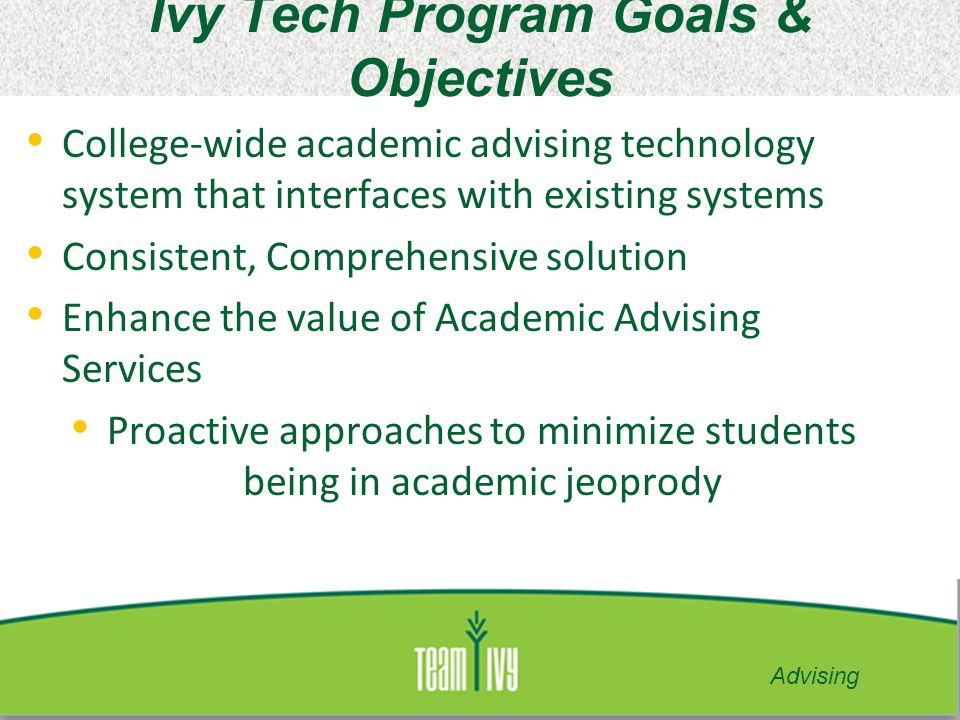 Ivy Tech Program Goals & Objectives